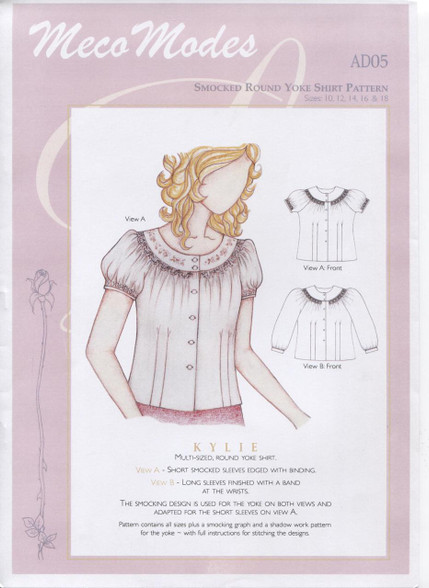 Kylie Smocked Round Yoke Ladies Shirt Pattern by Meco Modes