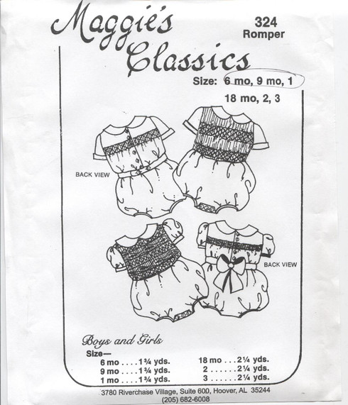 Smocked Romper Pattern 324 By Maggies Classics