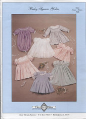 Baby Square Yoke Dress Pattern by Chery Williams, This is a fabulous pattern and has all the variations of a square yoke you will need , Size 3-24 months, There is no smocking design or dots with this pattern, Smocking plates can be found under Patterns,  Order 'H' or Blue wide dots found under Haberdashery, Pattern printed ready for you to trace off the size you need.  See attached video for help