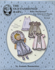This Old Fashioned Baby pattern by Jeannie Baumeister for Baby Daydresses is a lovely use of lace and embroidery, Baby Day dresses (Revised) has shoulder tucks, lovely lace design and Feather stitch Embroidery, All three designs have lace insertion and edging along the hem and short puffed sleeves.  Size Infant and 6-9 months (8-20lbs)  Ideal Fabrics are the Satin Batiste, Cotton Batiste or the Imperial Batiste, This pattern is a fabulous use of lace and embroidery, Suitable lace and beading is available on the lace page