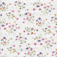 This is a lovely Spring Flower Corsage fabric in 100% cotton with tufts like cut spot.  A lovely soft fabric ideal for children's dresses, blouses, nightwear and more, Smocks beautifully, 140 cm wide. Priced per metre,   Matching pipings are Wisteria and Pink Crocus, Matching threads DMC 210 603 743 368