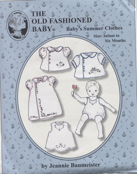 This Old Fashioned Baby pattern by Jeannie Baumeister is for Baby's Summer Clothes which are sure to delight.  There are three Diaper Shirt versions: Boy's Straight sleeve, Girl's smocked sleeve and Girl's Bias bound sleeve.  Two shadow embroidery designs of cute little chicks.  Embroidered Apron, The summer nightie has a boy or girl sleeve and features an antique embroidery design. Size Infant to 6 months