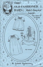 This Old Fashioned Baby pattern by Jeannie Baumeister is for Baby's Smocked Layette, The construction is easy to do, leaving time to stitch the embroidery.  It is fashioned after an antique baby gown that has a bit of smocking on the front and sleeves.  Complete with petticoat and Bonnet,  Size Infant 3-6 months (20lbs)