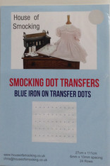 "Blue smocking dots are available in two sizes, Narrow 0.5 cm x 0.8 cm - narrow dots have 30 rows per sheet, Sheet size 24 cm x 115 cm (9"" x 45"") Wide 0.6 cm x 1 cm - Wide dots have 24 rows per sheet  sheet size 24 cm x 115 cm (9"" x 45""), Blue Smocking dot transfers are a good contrast colour for light coloured fabrics, Wide dots are pleater compatible, Two sheets in each pack"