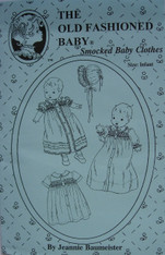 Patterns by The Old Fashioned Baby show charm and daintiness that belong to every baby. This Smocked Baby Clothes pattern by the internationally known Needle Art teacher Jeannie Baumeister include - a pattern for a Smocked Daygown, Smocked Day dress, Baby Boy Nightshirt and a Bonnet.  Available in infant size which is suitable for a baby 7-16 lbs, Full instructions are given in this pattern, Suitable fabrics are Satin Batiste, Cotton Batiste, Imperial Batiste, Corsage, A smocking design is included but no dots Order Yellow or Blue wide dots found under Haberdashery, Suitable lace can also be found on the Lace Page