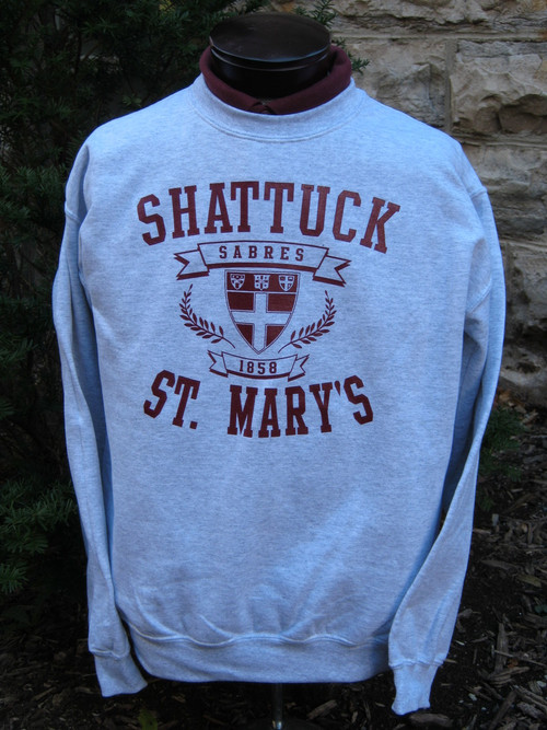 Ash Gray crewneck sweatshirt, 6.5 ounce with maroon screened logo.