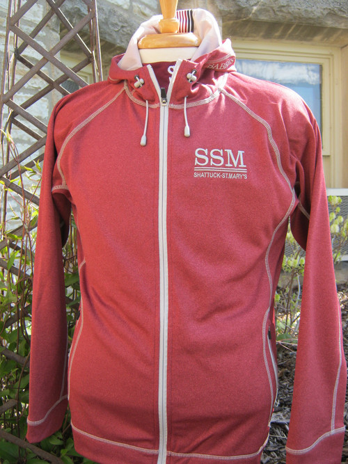 Sport Maroon Heather with Sport Graphite detail stitching.  100% polyester melange fleece with moisture-wicking performance.  Center  front zipper, shockcord at hood.  SSM embroidered left chest logo.