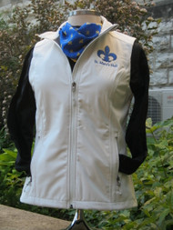 100% polyester woven shell bonded to a water-resistant film insert and a 100% polyester microfleece lining. Zip-through cadet collar with chin guard, front zippered pockets, open hem.  Marshallow color with embroidered St. Mary's Hall fleur di lis image