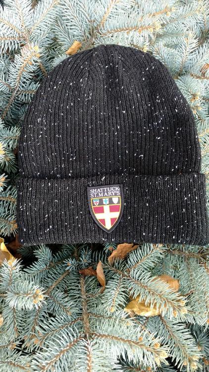 Get this sharp black with white flecks cuffed SSM beanie, embellished with the SSM shield logo today! 100% acrylic, one size fits all.
