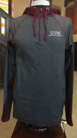 "The EVELYN 1/4 ZIP HOODIE-  This ladies heavy weight trainer poly jacket is ideal for the cool walks or runs in the morning.  The body fabric is a 46%nylon, 41% poly and 13% spandex.  This hoodie is about twice as heavy as a tee shirt.  With contrasting maroon trim on the seams and the zipper, this  hoodie is very clean and stylish.  Across the shoulders and winding around both arms is a 2"" wide stripe of ""Oval Pin Mesh"" This 95% poly 5% spandex mesh is not only very stylish; but can also create a cooling effect. The garment is finished off with a reflective logo on the left chest.   ****Size Large only****"