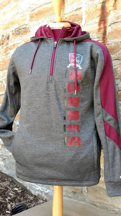 Charcoal hooded sweatshirt with 1/4 zip.  Maroon mesh accented hood interior and color block on sleeves.  Screened logo, side pockets.