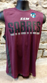 Heathered maroon sleeveless t-shirt with gray  side accents.  Reflective SSM logo.