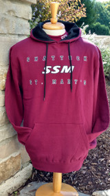 Maroon hooded sweatshirt with embroidered and appliqued SSM logo.  Black contrasting hood lining and  ties.  Front pouch pocket.