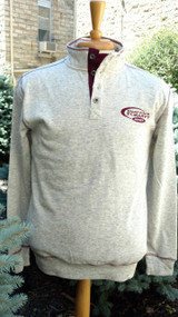 Henley collar heather grey sweatshirt with 1/2 button neck.  Contrasting button placket and top stitching.  Embroidered hockey logo. 60% polyester 40% cotton.