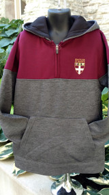 Youth 1/4 zip sweatshirt with screened stacked Shield logo.  Maroon upper body and sleeve, heathered gray lower body and sleeve. Front pouch pocket.  Black lining in hood. 100% polyester.
