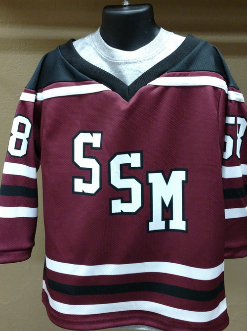 """Sometime the smallest fans cheer the loudest!  Support your favorite team with this jersey just like """"the big kids wear.""""  Sublimated jersey with #58 on the sleeves and back (SSM was started in 1858.)  Youth sizes only."""