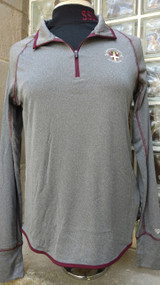 Heather Charcoal 1/4 zip ladies embellished with left chest Figure Skating logo.  100% polyester. Maroon top-stitching, zipper and edging, thumb holes.