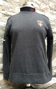 Adidas ladies charcoal modern V-neck sweater. 65% Cotton/35% polyester. High density print brand on sleeve, Embroidered stacked Shield logo. Regular fit.