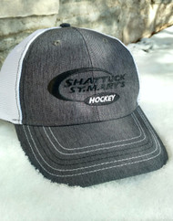 Charcoal hat with white mesh back, hockey swoosh embroidered logo, Velcro back.