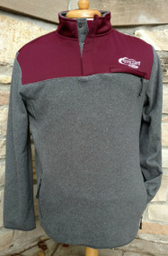 Heather Polar Fleece  body with  maroon  100% Polyester insert.  Hockey swoosh left chest embroidered logo and SABRES embroidered on right back shoulder.  Media pocket, side pockets with zippers.