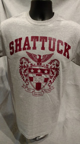 Gray Gildan t-shirt screened with the Shattuck Eagle Crest in maroon.
