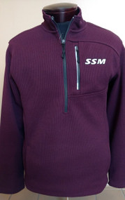 Jan's favorite this season!  Maroon 100% polyester heavy corded fleece. 1/4 zip with front zippered media pocket, embroidered SSM logo.