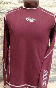 Maroon long sleeve, lightweight training poly. Contrasting cover stitch, screened center chest Hockey swoosh and SABRES on lower sleeve.
