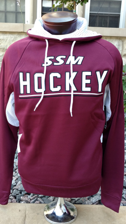 Maroon fleece body with contrasting white mesh hood lining and side accents. Tackle twill embroidered front