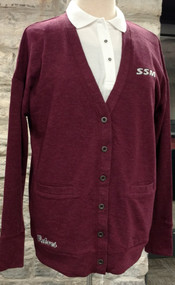 Perfect for layering on cool fall days. Maroon cardigan embroidered with SSM on left chest and SABRES on lower edge.  Space dyed French Terry 55% cotton 45% polyester.