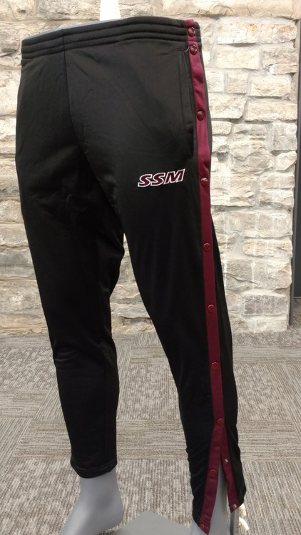 Black 100% polyester breakaway pants with maroon contrasting accents. Drawstring waist, embroidered SSM logo.