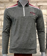 Lightweight pullover jacket suitable for mild temperatures. Heathered charcoal with maroon accents on the shoulder, embroidered hockey swoosh logo.  89 %Polyester/11% Spandex. Machine wash, tumble dry.