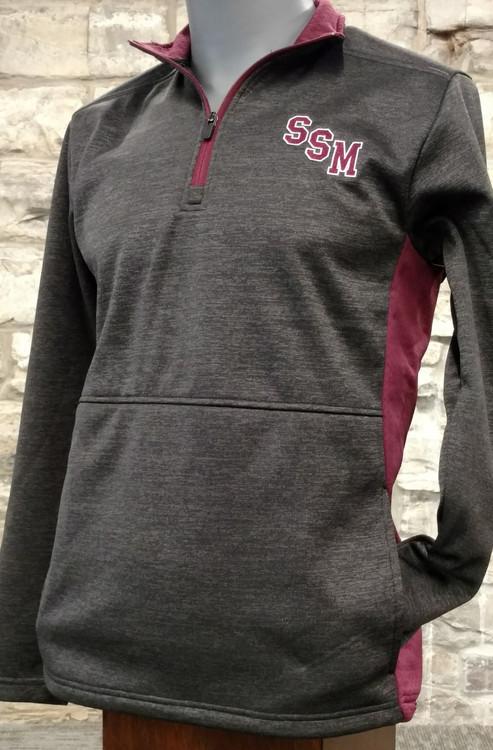 Men's heathered black 1/4 zip fleece with maroon mesh accents on side and collar, maroon zipper. Embroidered SSM logo, white embroidered hockey swoosh logo on back right shoulder. 100% polyester slub fleece.