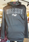 """Black 100% poly fleece body with marled hood lining and shoulder block.  Appliqued Hockey logo with embroidered """"swoosh"""" logo."""