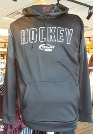 "Black 100% poly fleece body with marled hood lining and shoulder block.  Appliqued Hockey logo with embroidered ""swoosh"" logo."