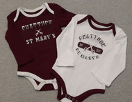 Adorable long sleeve onsie for our Future Sabres!  100% cotton, contrasting snap closure, screen printed embellishment. Sizes Small 0 - 3 months, Medium 3 - 6 months, Large 6 - 9 months, Xlarge 12 - 18 months.