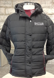 This cozy jacket features side pockets with zippers, smocked side panels, contrast storm cuffs, snaps & zipper front closure and toggles at the hood. Perfect cold weather gear for any Sabres fan.  100% polyester, embroidered Shattuck - St. Mary's logo, women's sizing, relaxed fit.