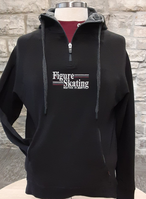 "Ladies modern fit black  french terry 1/4 zip sweatshirt. 55% Cotton/40% Polyester/5% Spandex fabric. Contrasting 8"" locking zipper with Badger ""B"" logo slider, raglan sleeve, slanted set-in front pocket with contrasting liner. Ribbed bottom band and sleeve cuffs with 2"" thumbholes."