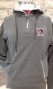 "Ladies modern fit charcoal french terry 1/4 zip sweatshirt. 55% Cotton/40% Polyester/5% Spandex fabric. Contrasting 8"" locking zipper with Badger ""B"" logo slider, raglan sleeve, slanted set-in front pocket with contrasting liner. Ribbed bottom band and sleeve cuffs with 2"" thumbholes."