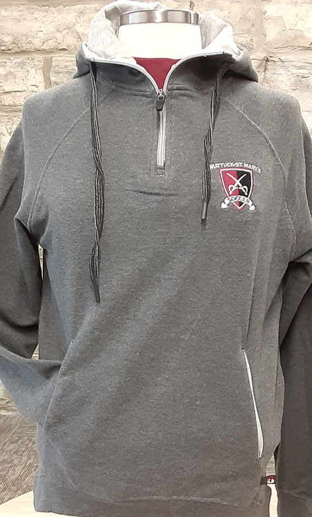 """Ladies modern fit charcoal french terry 1/4 zip sweatshirt. 55% Cotton/40% Polyester/5% Spandex fabric. Contrasting 8"""" locking zipper with Badger """"B"""" logo slider, raglan sleeve, slanted set-in front pocket with contrasting liner. Ribbed bottom band and sleeve cuffs with 2"""" thumbholes."""