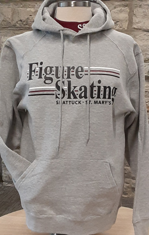 Oxford gray sweatshirt screened with Figure Skating logo. 8 oz., 60/40 ringspun cotton/polyester ,two-ply hood. matching drawcord.  Spandex reinforced rib knit cuffs and waistband. Frong pouch pocket with headset opening.