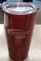 Watch your favorite team and keep your cocoa or coffee pipping hot.  Maroon, stainless steel, 20 ounce travel mug.  Clear slide open top, screened hockey swoosh logo.