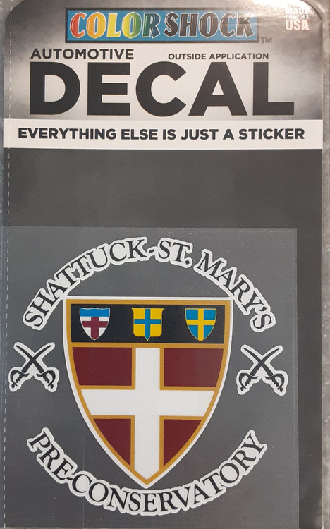 Color Shock decal with Pre-Conservatory logo. Sticks to most smooth, flat surfaces. No tape or tacks required. Thick, high-grade vinyl resists tears, rips & fading. Measure 3.75 x 3.75 inches.