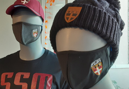 Two layer Cotton/Spandex washable face masks embroidered with the Shattuck - St. Mary's Shield logo. Adult sizes. Charcoal or Black.