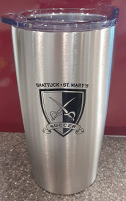 Watch your favorite team and keep your cocoa or coffee pipping hot.  Stainless steel, 20 ounce travel mug.  Clear slide open top, screened soccer logo.