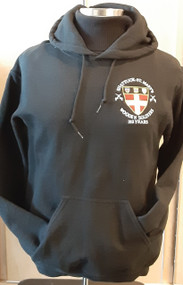 Memories of days past or in the making.  Wooden Soldier black hooded sweatshirt with embroidered logo on left chest.  Embroidered name on lower back (please provide).  Eight ounce, 50/50 cotton/polyester sweatshirt featuring ribbed cuffs and waistband. Front pouch pocket.  Double lined hood with matching drawcord.  Since these are special order and require personalization please allow 2 -3 weeks for delivery.  NOTE - there will NOT be a yeardate under the front logo.