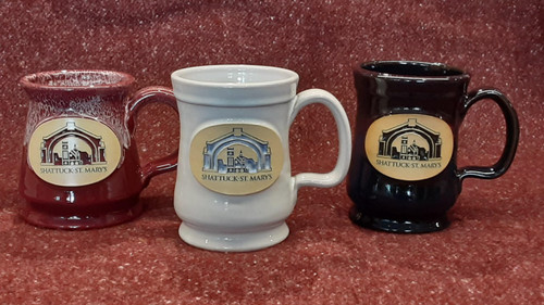 Custom, hand thrown, stoneware mugs produced by second generation Minnesota based Deneen Pottery.  12 ounce mugs  featuring the iconic Arch logo in your choice of Black, Maroon or White.