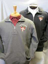 1/4 zip sweatshirt with cadet collar, embroidered Shield logo, your choice of black or gray.  80/20 blend.