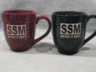 Laser engraved speckled ceramic mug perfect for a steaming cup of coffee or hot chocolate.  Your choice of maroon or black.