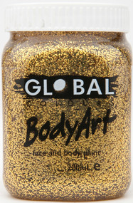 Global Body Art Face Paint Glitter Gold - 200ml