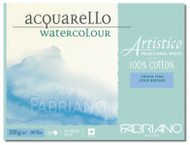 FABRIANO ARTISTICO TRADITIONAL WHITE 4 SIDES GLUED PAD COLD PRESSED 25 SHEETS 200GSM 23X30.5CM